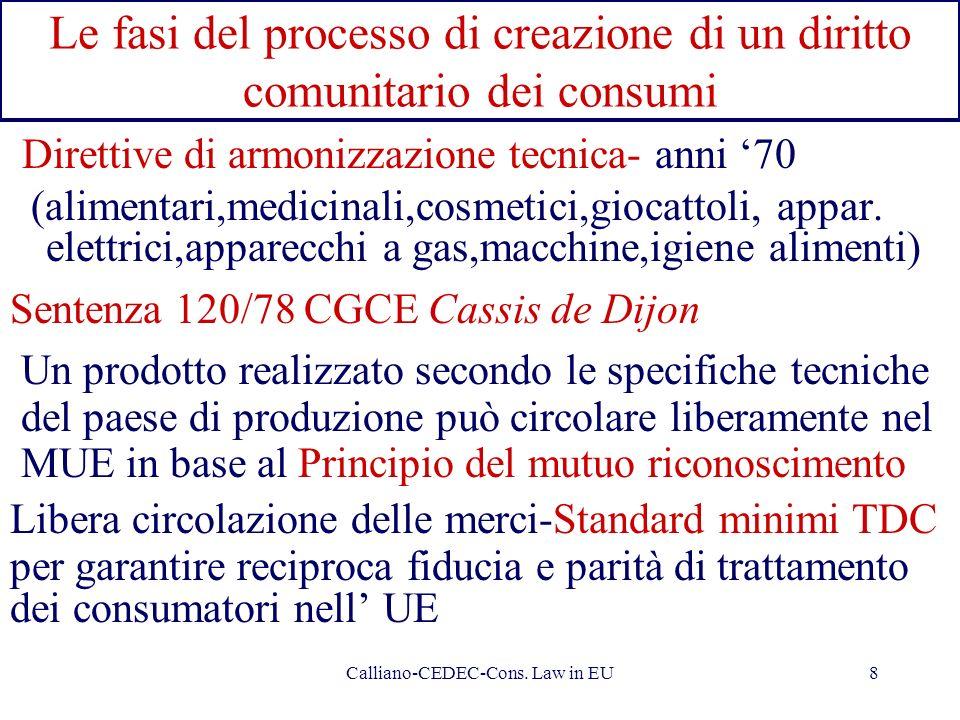 Calliano-CEDEC-Cons. Law in EU8 Le fasi del processo di creazione di un diritto comunitario dei consumi Direttive di armonizzazione tecnica- anni 70 (
