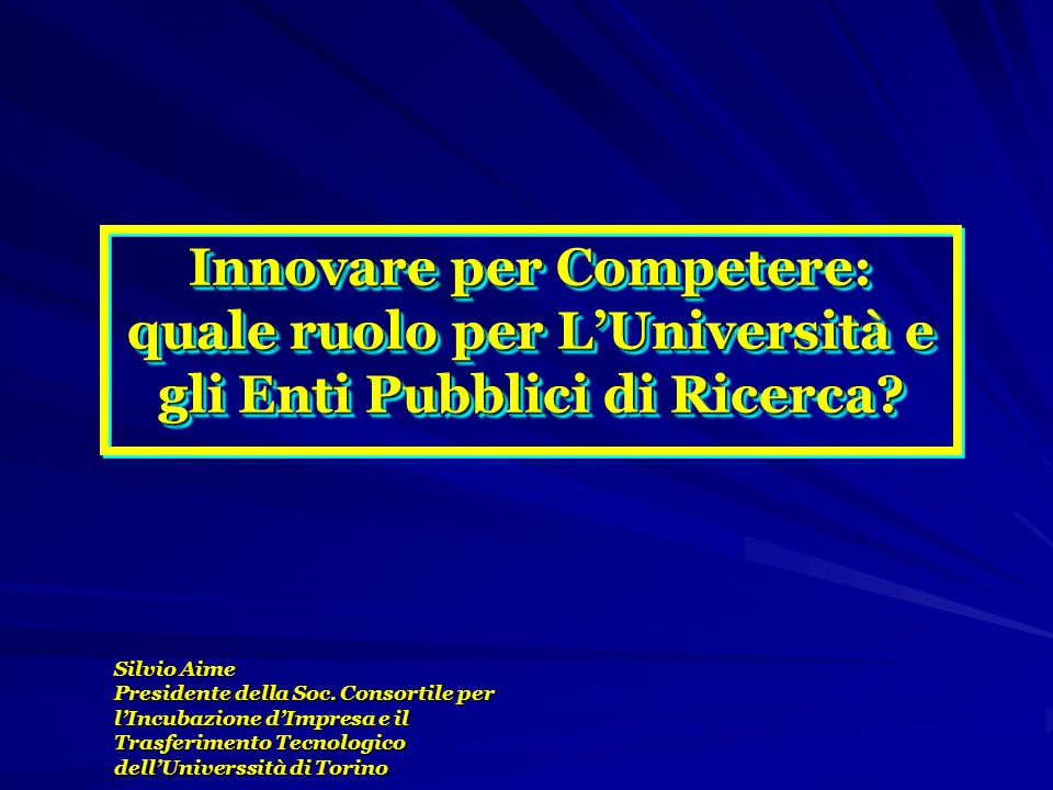 Innovare per Competere: quale ruolo per LUniversità e gli Enti Pubblici di Ricerca? Silvio Aime Presidente della Soc. Consortile per lIncubazione dImp