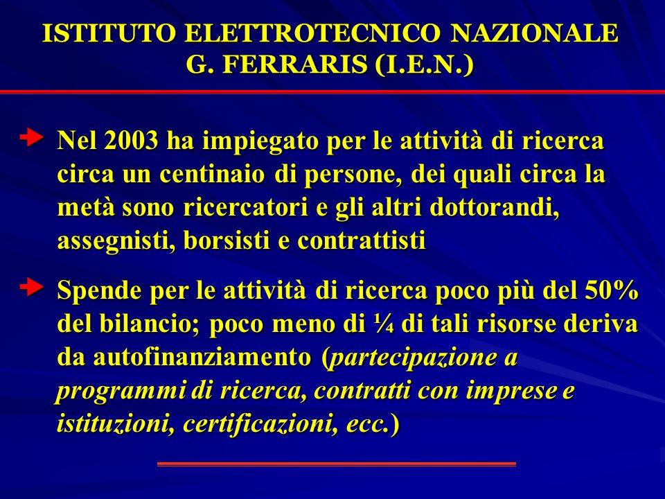 ISTITUTO ELETTROTECNICO NAZIONALE G. FERRARIS (I.E.N.) Nel 2003 ha impiegato per le attività di ricerca circa un centinaio di persone, dei quali circa