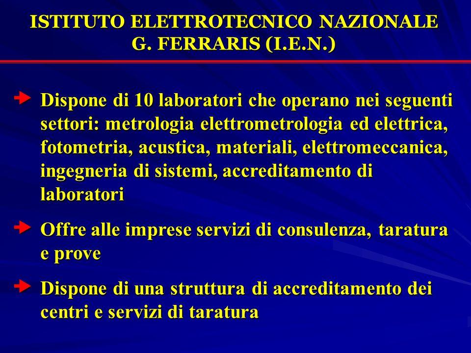 Dispone di 10 laboratori che operano nei seguenti settori: metrologia elettrometrologia ed elettrica, fotometria, acustica, materiali, elettromeccanic