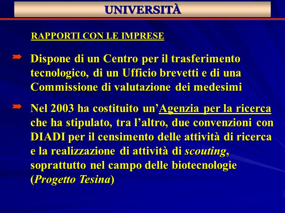 UNIVERSITÀ RAPPORTI CON LE IMPRESE Dispone di un Centro per il trasferimento tecnologico, di un Ufficio brevetti e di una Commissione di valutazione d