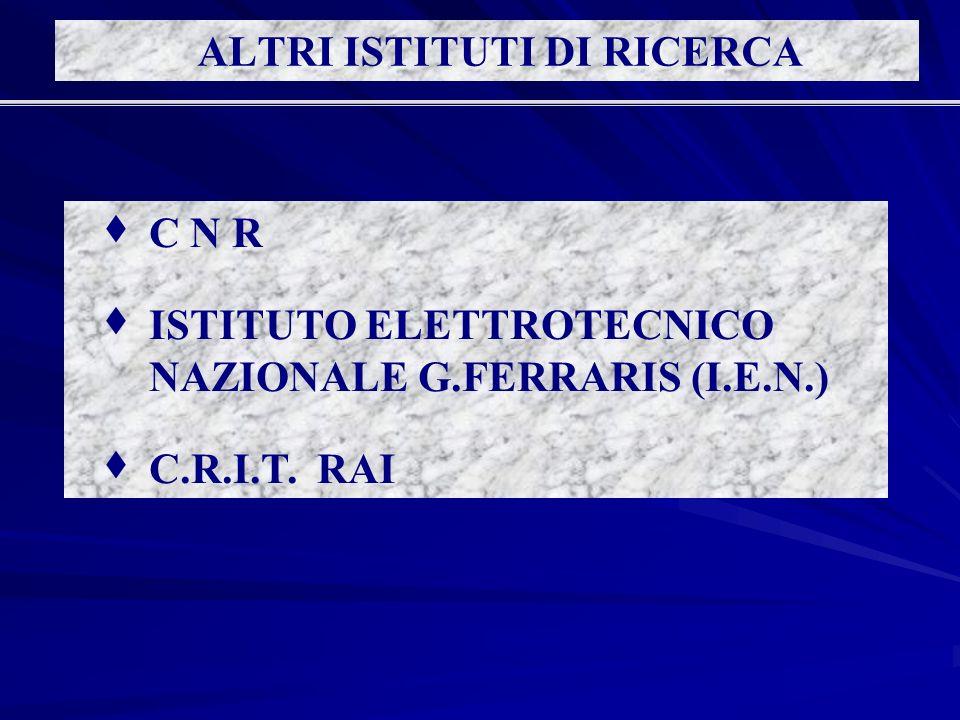 C N R È strutturato in 16 ISTITUTI, di cui 4 con sede a Torino È strutturato in 16 ISTITUTI, di cui 4 con sede a Torino Vi lavorano circa 300 persone; di questi l80% circa sono ricercatori e tecnici Vi lavorano circa 300 persone; di questi l80% circa sono ricercatori e tecnici Listituto più importante è quello di metrologia G.