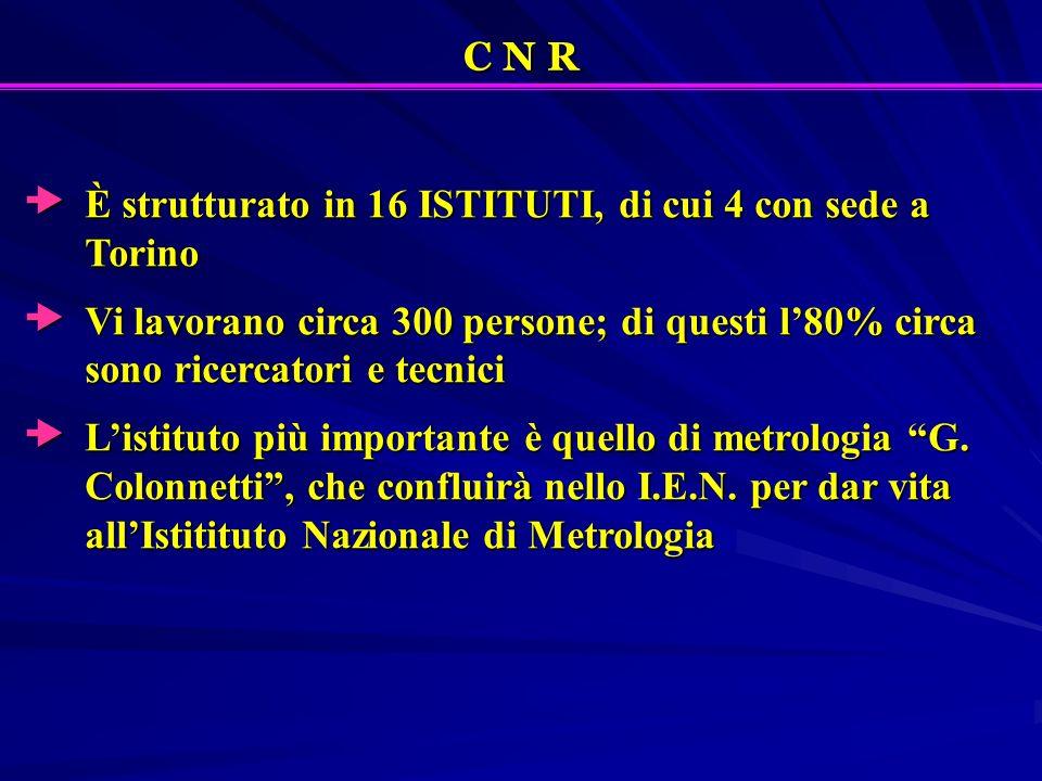 C N R È strutturato in 16 ISTITUTI, di cui 4 con sede a Torino È strutturato in 16 ISTITUTI, di cui 4 con sede a Torino Vi lavorano circa 300 persone;