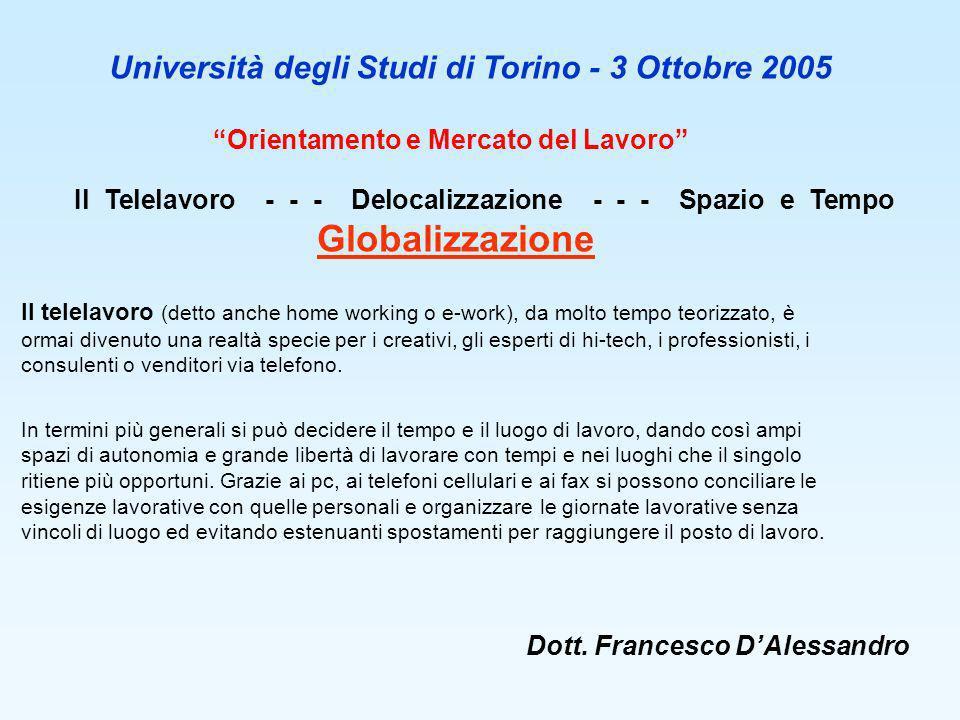 Dott. Francesco DAlessandro Orientamento e Mercato del Lavoro Università degli Studi di Torino - 3 Ottobre 2005 Il Telelavoro - - - Delocalizzazione -