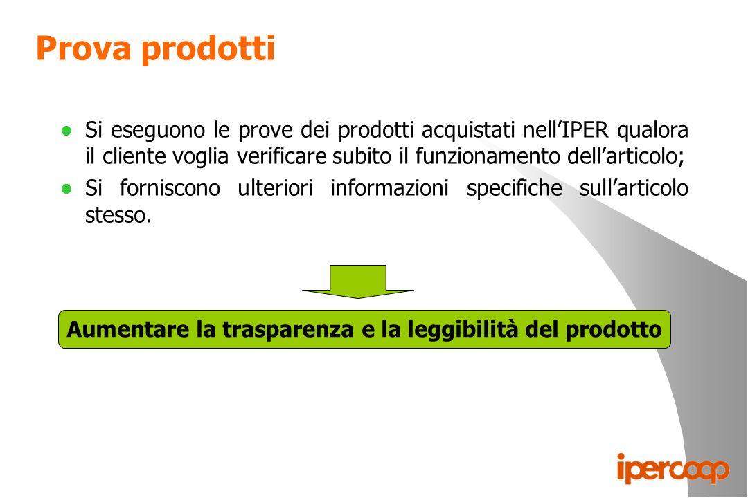 Prova prodotti l Si eseguono le prove dei prodotti acquistati nellIPER qualora il cliente voglia verificare subito il funzionamento dellarticolo; l Si