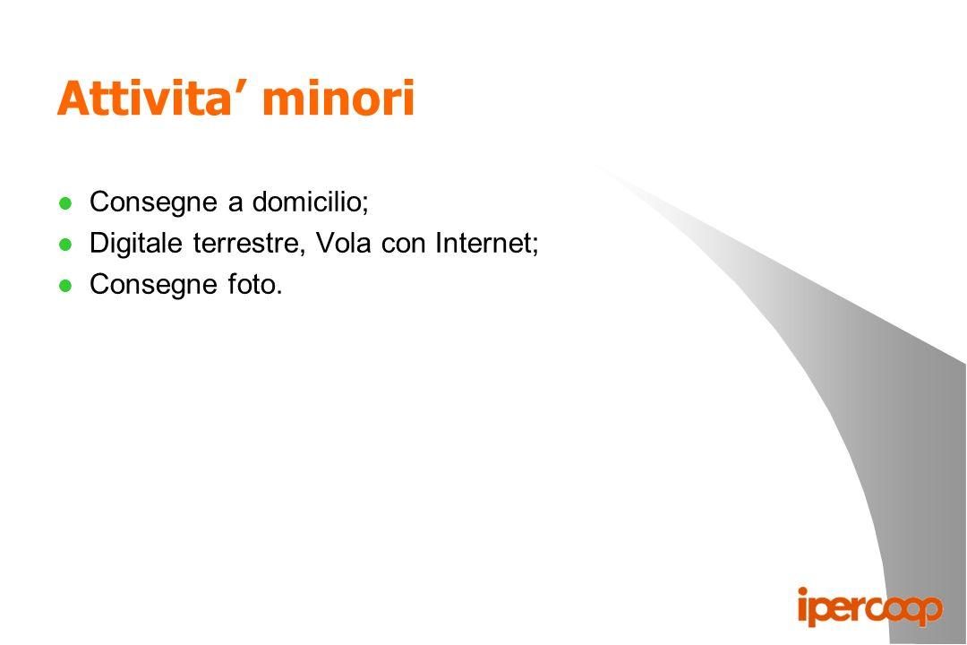 Attivita minori l Consegne a domicilio; l Digitale terrestre, Vola con Internet; l Consegne foto.