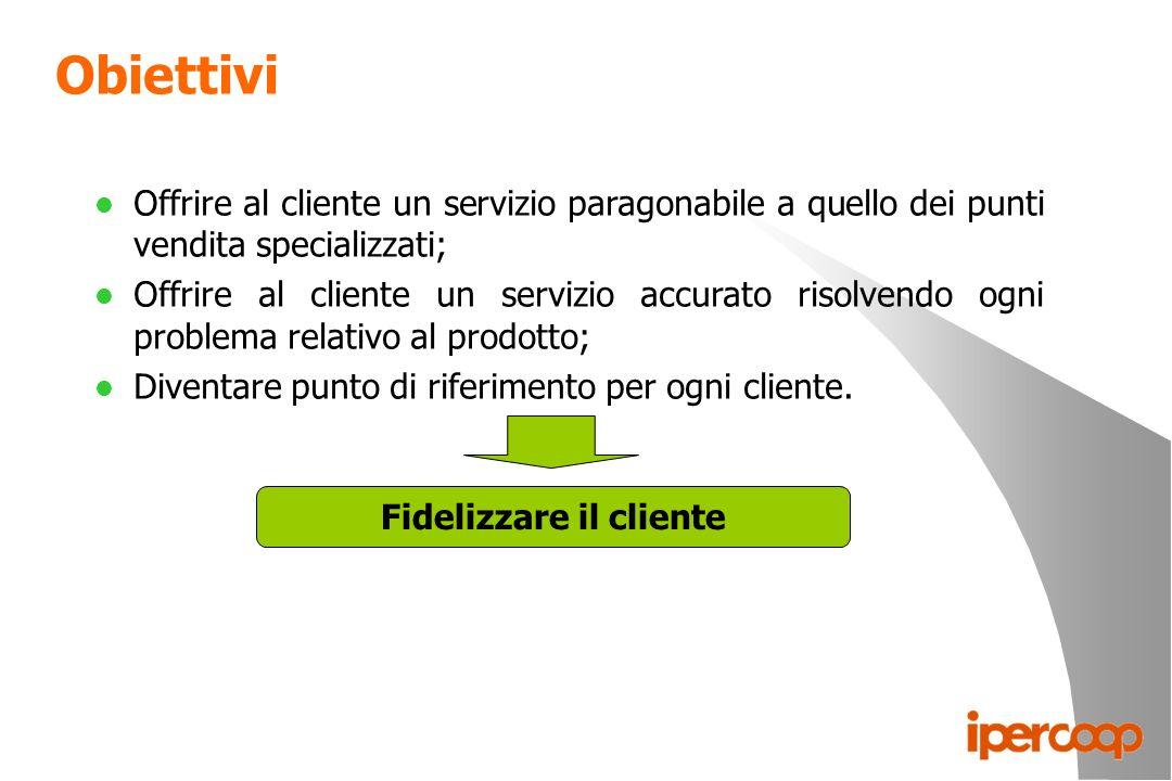 Obiettivi l Offrire al cliente un servizio paragonabile a quello dei punti vendita specializzati; l Offrire al cliente un servizio accurato risolvendo