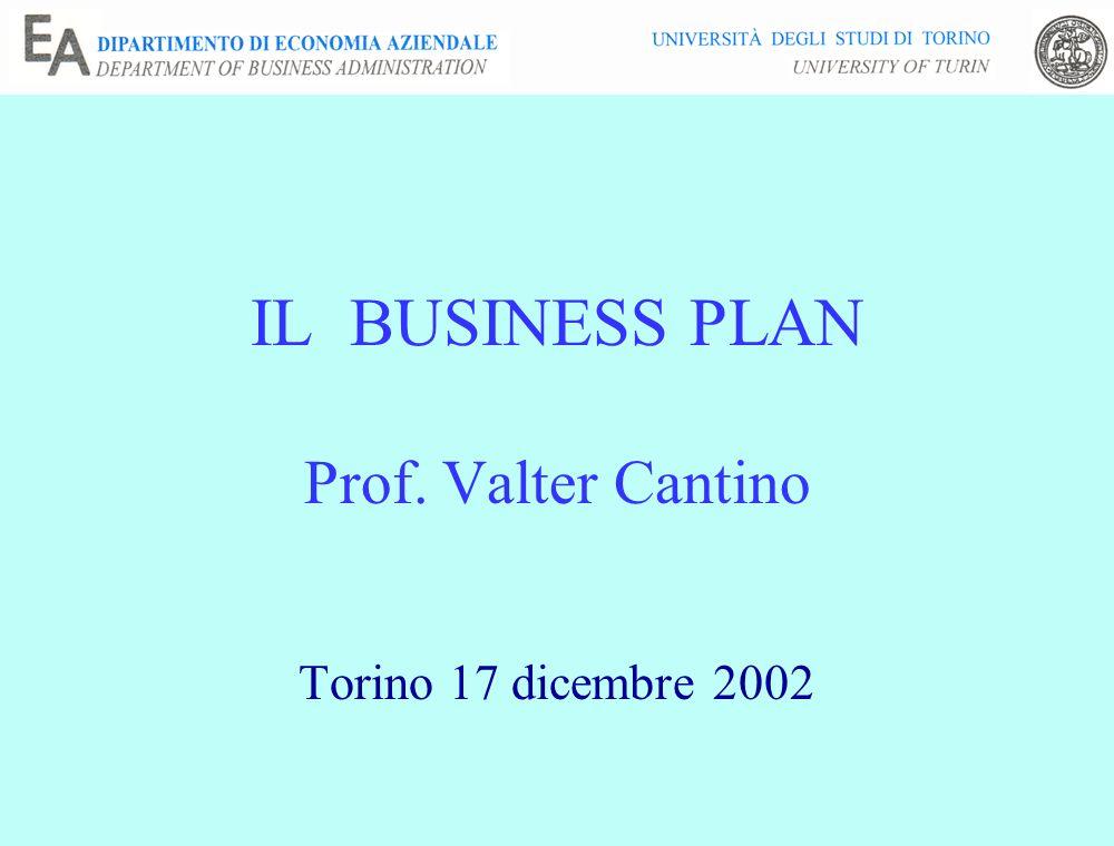 IL BUSINESS PLAN Prof. Valter Cantino Torino 17 dicembre 2002