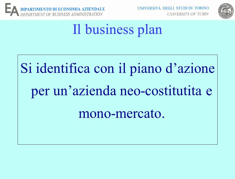 Si identifica con il piano dazione per unazienda neo-costitutita e mono-mercato. Il business plan