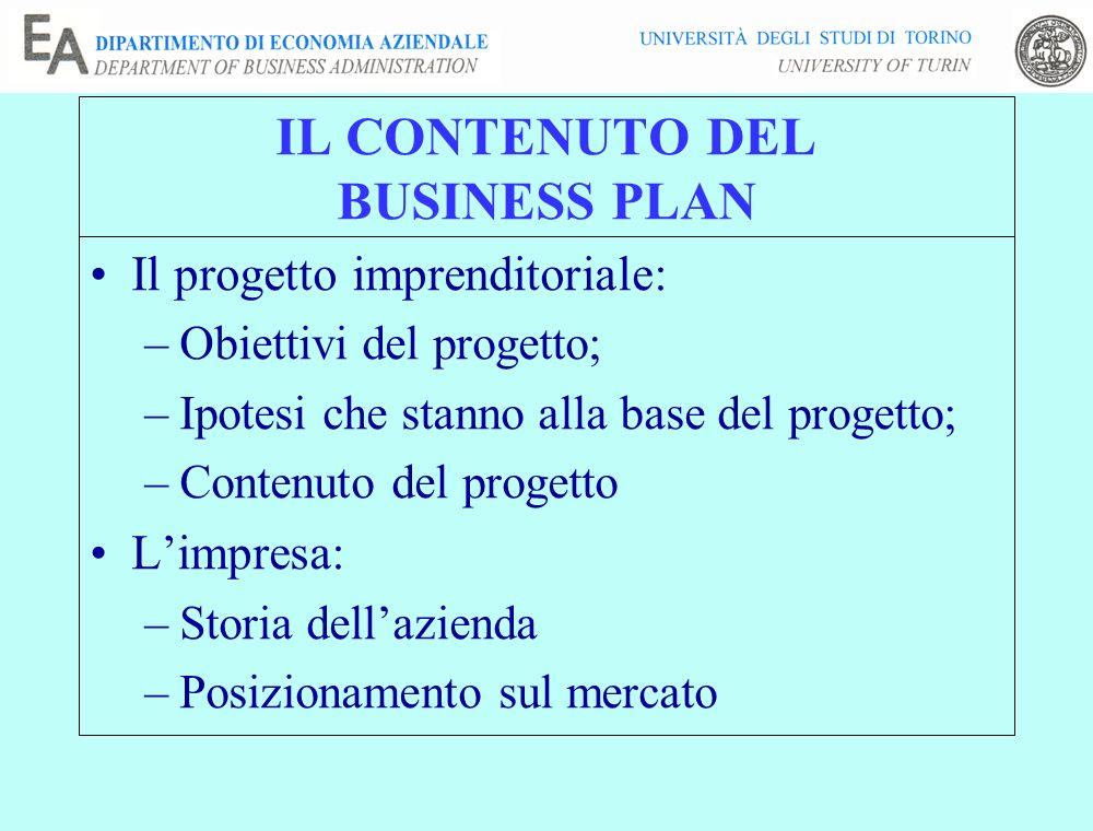 IL CONTENUTO DEL BUSINESS PLAN Il progetto imprenditoriale: –Obiettivi del progetto; –Ipotesi che stanno alla base del progetto; –Contenuto del proget