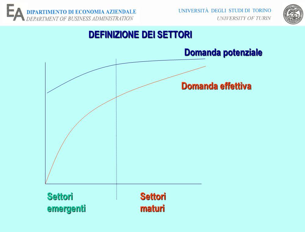 DEFINIZIONE DEI SETTORI Domanda potenziale Domanda effettiva SettoriemergentiSettorimaturi