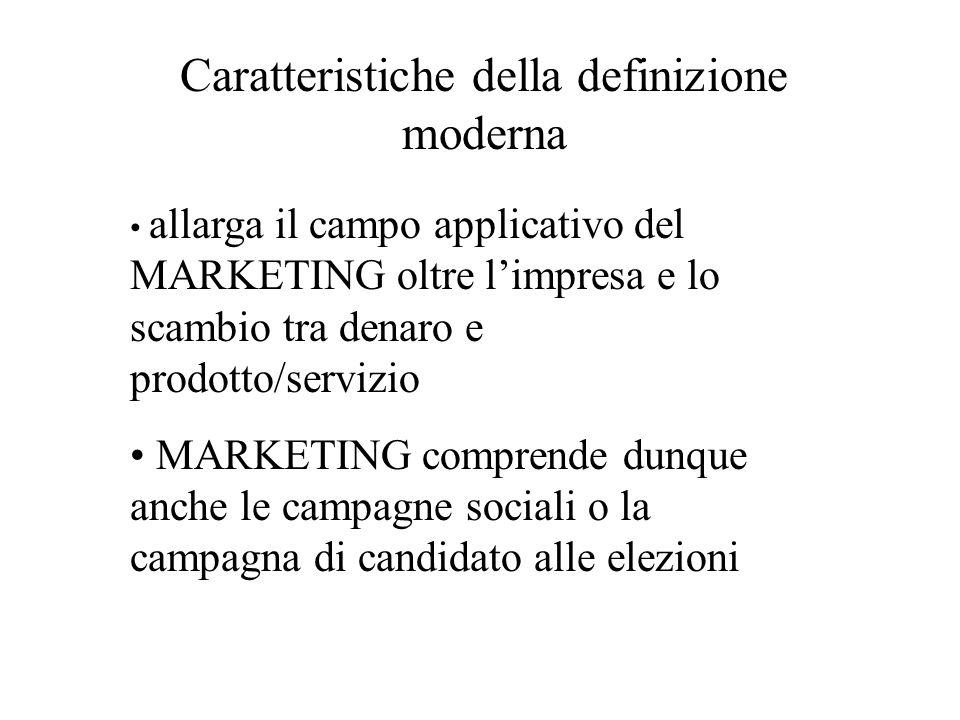 Caratteristiche della definizione moderna allarga il campo applicativo del MARKETING oltre limpresa e lo scambio tra denaro e prodotto/servizio MARKETING comprende dunque anche le campagne sociali o la campagna di candidato alle elezioni