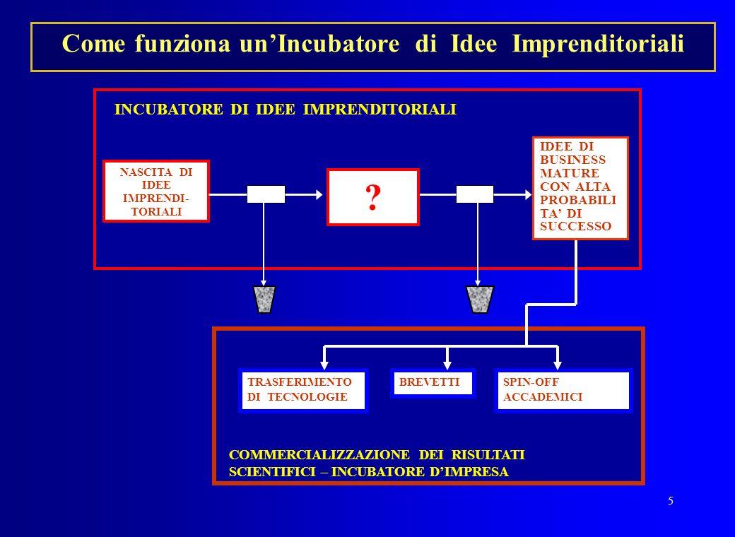 5 COMMERCIALIZZAZIONE DEI RISULTATI SCIENTIFICI – INCUBATORE DIMPRESA Come funziona unIncubatore di Idee Imprenditoriali INCUBATORE DI IDEE IMPRENDITO