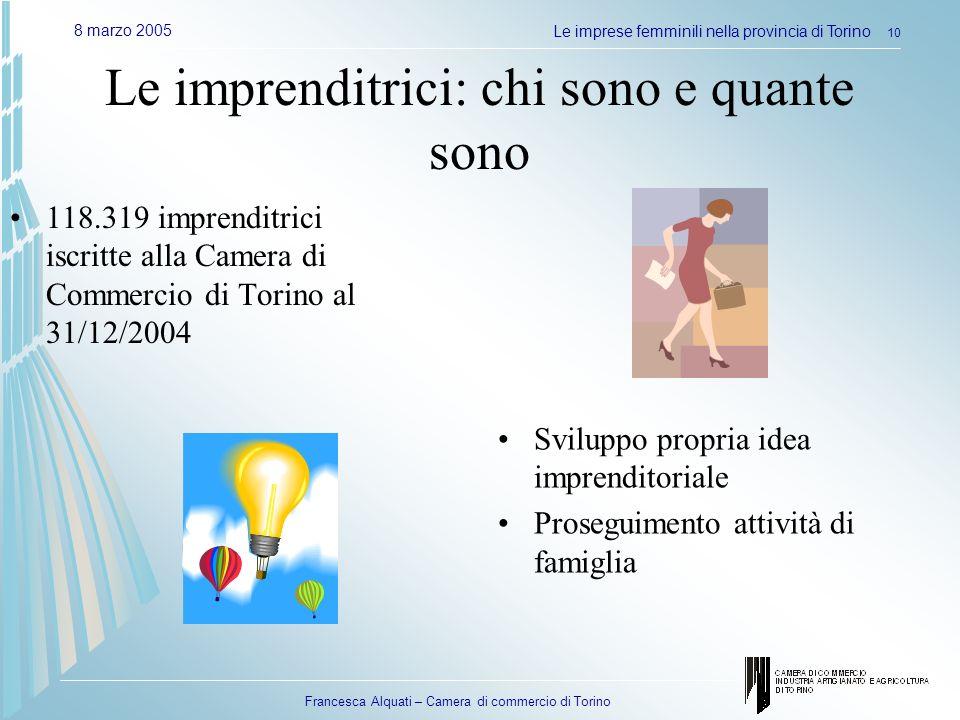 Francesca Alquati – Camera di commercio di Torino 8 marzo 2005Le imprese femminili nella provincia di Torino 10 Le imprenditrici: chi sono e quante so