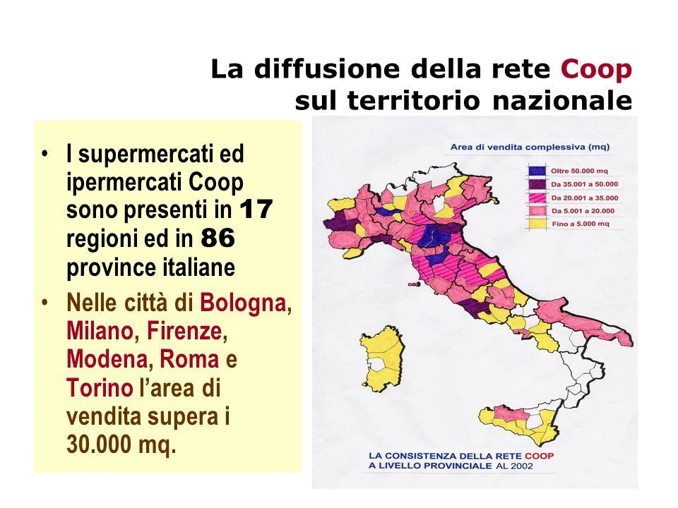 La densità di area di vendita Coop In rapporto alle dimensioni demografiche dei diversi mercati provinciali larea di vendita Coop tende a concentrarsi essenzialmente nelle regioni centrosettentrionali in particolare in Emilia-Romagna, Toscana, Liguria, Umbria e Marche.