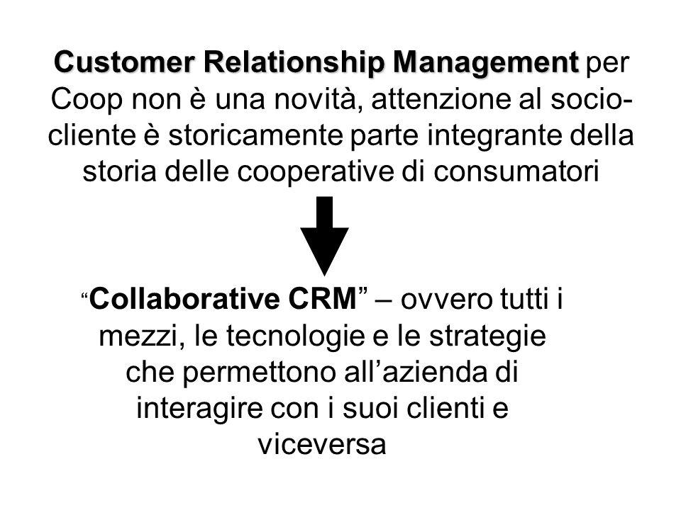 Customer Relationship Management Customer Relationship Management per Coop non è una novità, attenzione al socio- cliente è storicamente parte integra