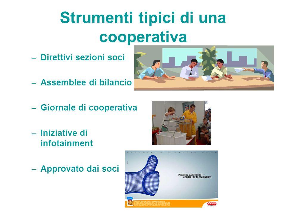 Strumenti tipici di una cooperativa –Direttivi sezioni soci –Assemblee di bilancio –Giornale di cooperativa –Iniziative di infotainment –Approvato dai