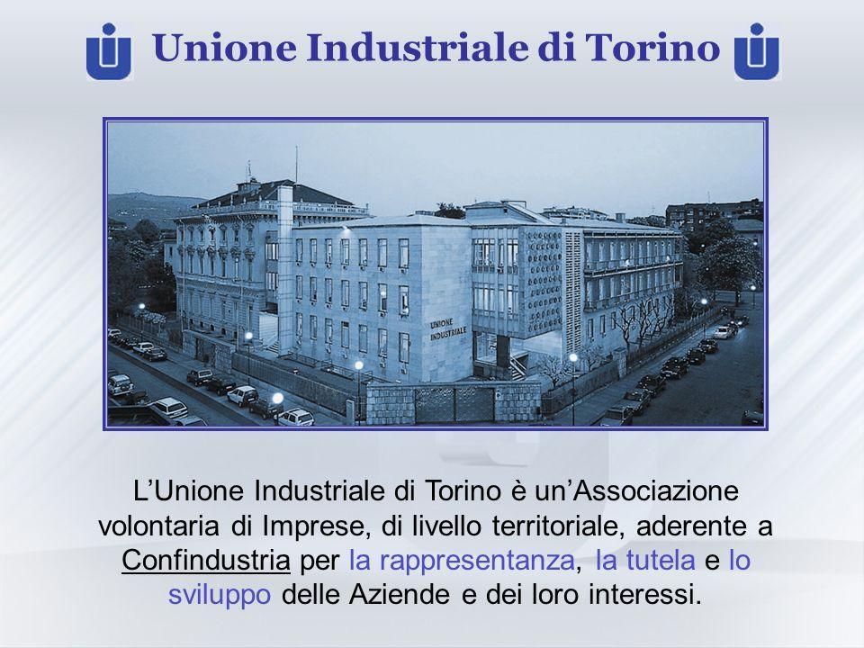 Unione Industriale di Torino LUnione Industriale di Torino è unAssociazione volontaria di Imprese, di livello territoriale, aderente a Confindustria per la rappresentanza, la tutela e lo sviluppo delle Aziende e dei loro interessi.