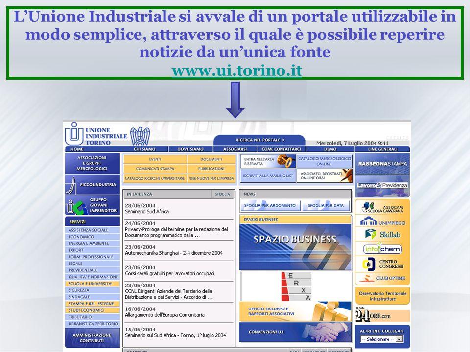 LUnione Industriale si avvale di un portale utilizzabile in modo semplice, attraverso il quale è possibile reperire notizie da ununica fonte www.ui.torino.itwww.ui.torino.it