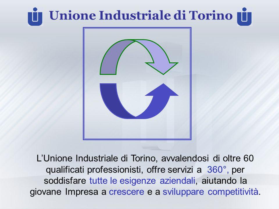 Unione Industriale di Torino LUnione Industriale di Torino, avvalendosi di oltre 60 qualificati professionisti, offre servizi a 360°, per soddisfare tutte le esigenze aziendali, aiutando la giovane Impresa a crescere e a sviluppare competitività.