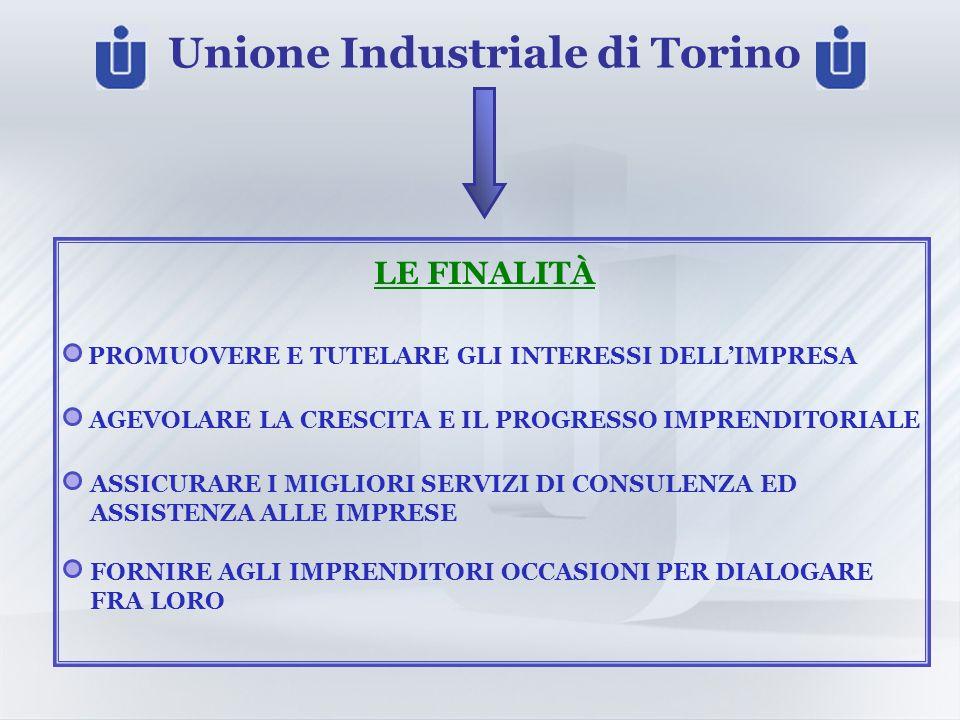 Unione Industriale di Torino LE FINALITÀ PROMUOVERE E TUTELARE GLI INTERESSI DELLIMPRESA AGEVOLARE LA CRESCITA E IL PROGRESSO IMPRENDITORIALE ASSICURARE I MIGLIORI SERVIZI DI CONSULENZA ED ASSISTENZA ALLE IMPRESE FORNIRE AGLI IMPRENDITORI OCCASIONI PER DIALOGARE FRA LORO