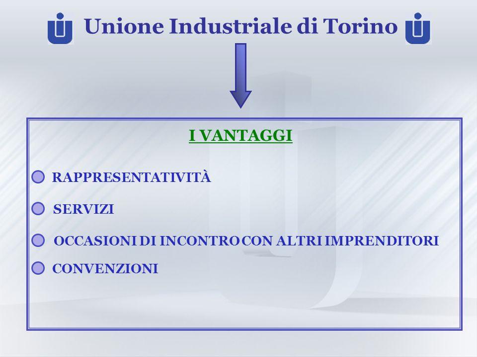 Unione Industriale di Torino I VANTAGGI RAPPRESENTATIVITÀ SERVIZI CONVENZIONI OCCASIONI DI INCONTRO CON ALTRI IMPRENDITORI