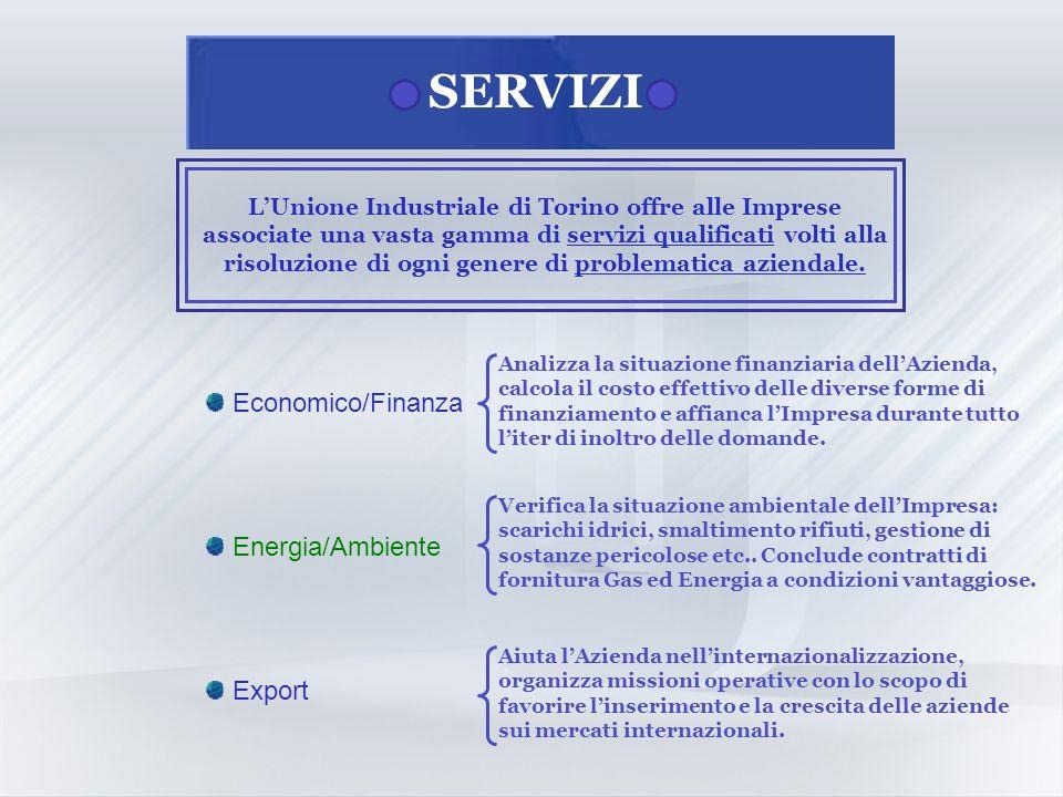 SERVIZI LUnione Industriale di Torino offre alle Imprese associate una vasta gamma di servizi qualificati volti alla risoluzione di ogni genere di problematica aziendale.