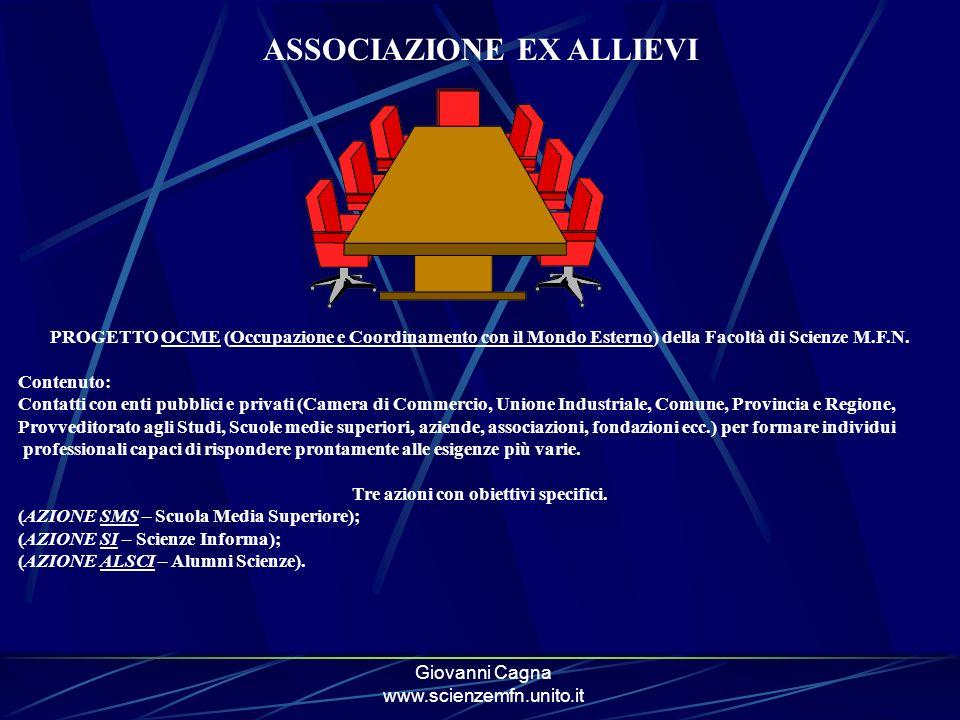 Giovanni Cagna www.scienzemfn.unito.it ASSOCIAZIONE EX ALLIEVI PROGETTO OCME (Occupazione e Coordinamento con il Mondo Esterno) della Facoltà di Scienze M.F.N.