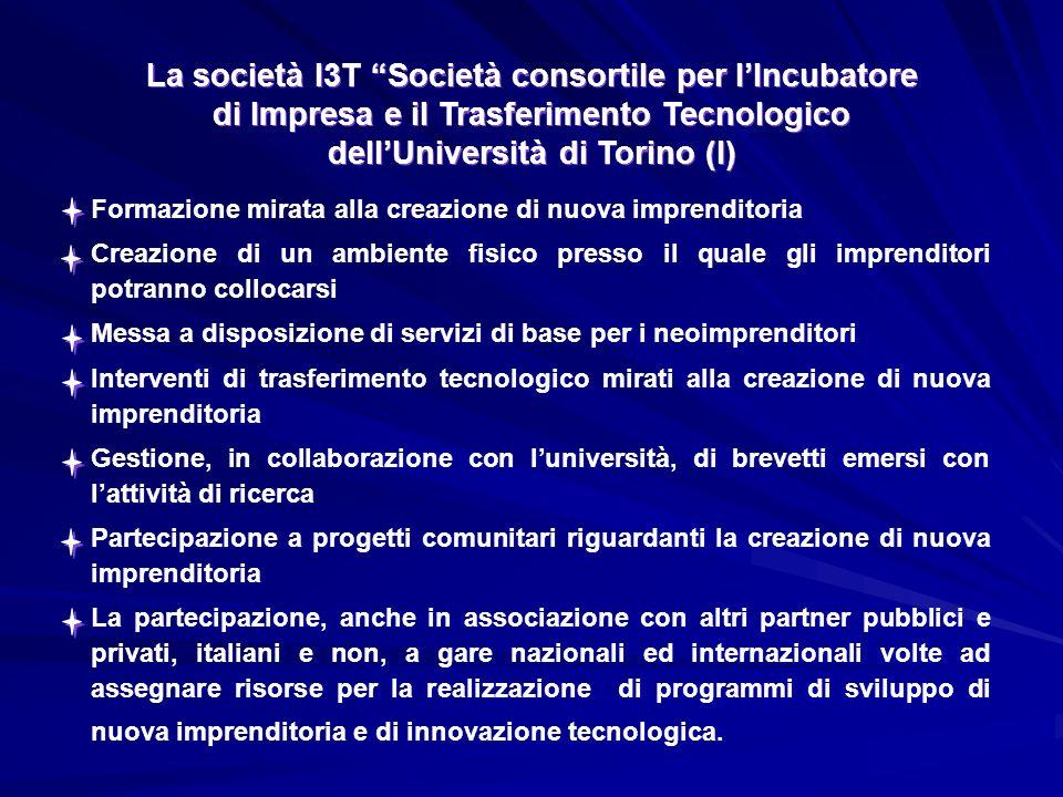 La società I3T Società consortile per lIncubatore di Impresa e il Trasferimento Tecnologico dellUniversità di Torino (I) La società I3T Società consortile per lIncubatore di Impresa e il Trasferimento Tecnologico dellUniversità di Torino (I) Formazione mirata alla creazione di nuova imprenditoria Creazione di un ambiente fisico presso il quale gli imprenditori potranno collocarsi Messa a disposizione di servizi di base per i neoimprenditori Interventi di trasferimento tecnologico mirati alla creazione di nuova imprenditoria Gestione, in collaborazione con luniversità, di brevetti emersi con lattività di ricerca Partecipazione a progetti comunitari riguardanti la creazione di nuova imprenditoria La partecipazione, anche in associazione con altri partner pubblici e privati, italiani e non, a gare nazionali ed internazionali volte ad assegnare risorse per la realizzazione di programmi di sviluppo di nuova imprenditoria e di innovazione tecnologica.