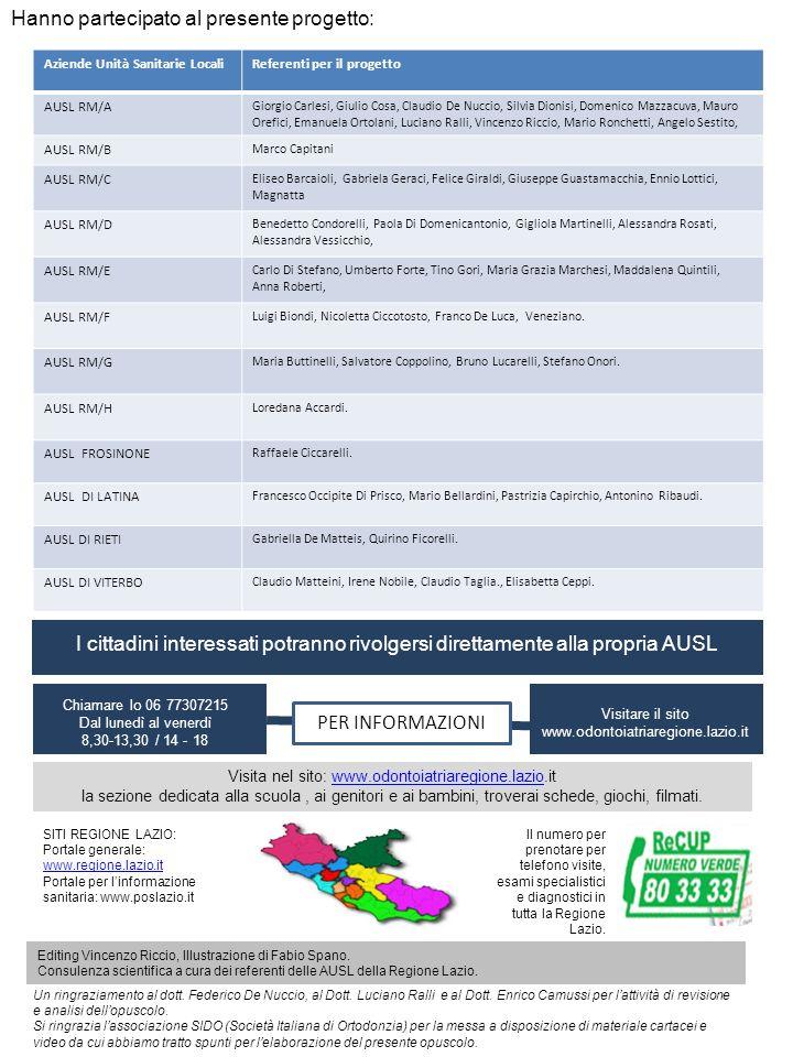 Hanno partecipato al presente progetto: Aziende Unità Sanitarie LocaliReferenti per il progetto AUSL RM/A Giorgio Carlesi, Giulio Cosa, Claudio De Nuc