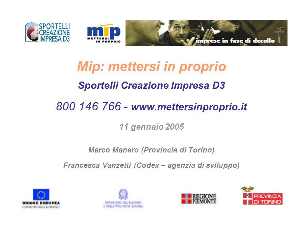 Premessa MIP è un servizio promosso dalla Provincia di Torino finalizzato a sostenere la creazione e lo sviluppo di nuove imprese Il servizio è completamente gratuito in quanto finanziato con risorse del FSE (POR Obiettivo 3 – Misura D3), della Regione Piemonte e del Ministero del Lavoro