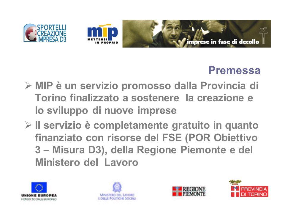 Premessa MIP è un servizio promosso dalla Provincia di Torino finalizzato a sostenere la creazione e lo sviluppo di nuove imprese Il servizio è comple