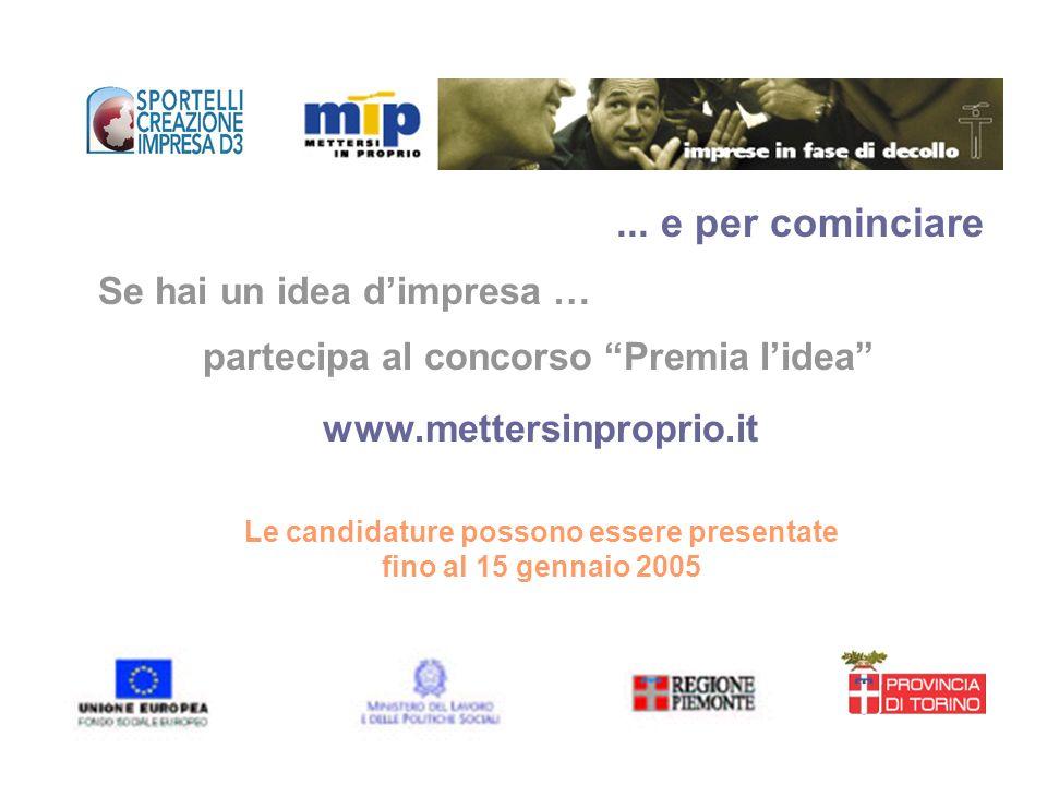 Se hai un idea dimpresa … partecipa al concorso Premia lidea www.mettersinproprio.it Le candidature possono essere presentate fino al 15 gennaio 2005.