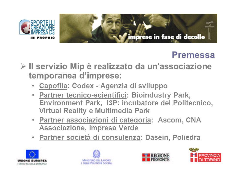 Premessa Il servizio Mip è realizzato da unassociazione temporanea dimprese: Capofila: Codex - Agenzia di sviluppo Partner tecnico-scientifici: Bioind