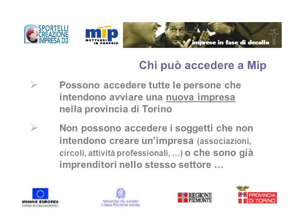 Chi può accedere a Mip Possono accedere tutte le persone che intendono avviare una nuova impresa nella provincia di Torino Non possono accedere i sogg