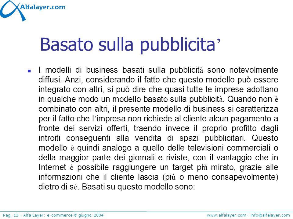 www.alfalayer.com - info@alfalayer.com Pag. 13 - Alfa Layer: e-commerce © giugno 2004 Basato sulla pubblicita I modelli di business basati sulla pubbl
