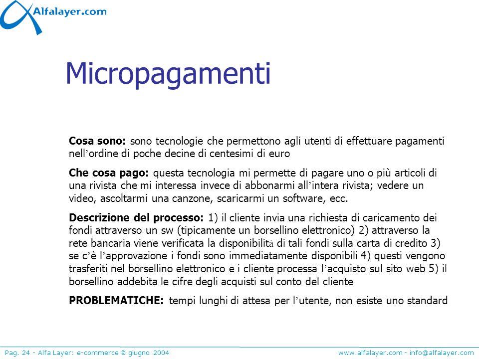www.alfalayer.com - info@alfalayer.com Pag. 24 - Alfa Layer: e-commerce © giugno 2004 Micropagamenti Cosa sono: sono tecnologie che permettono agli ut