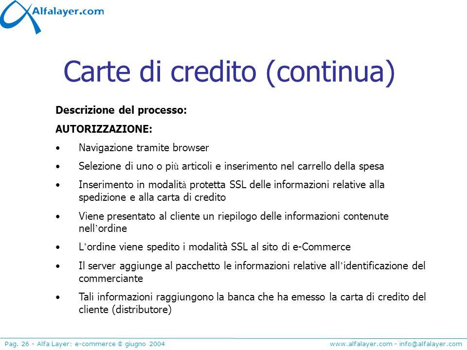 www.alfalayer.com - info@alfalayer.com Pag. 26 - Alfa Layer: e-commerce © giugno 2004 Carte di credito (continua) Descrizione del processo: AUTORIZZAZ