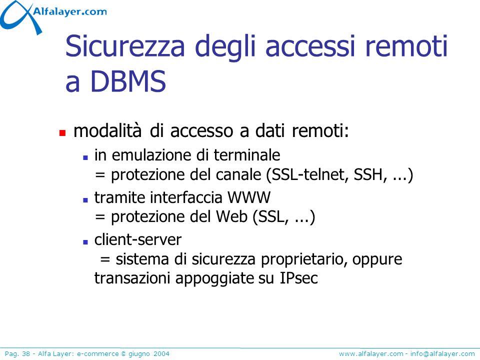 www.alfalayer.com - info@alfalayer.com Pag. 38 - Alfa Layer: e-commerce © giugno 2004 Sicurezza degli accessi remoti a DBMS modalità di accesso a dati