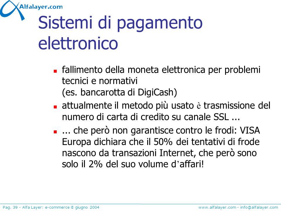 www.alfalayer.com - info@alfalayer.com Pag. 39 - Alfa Layer: e-commerce © giugno 2004 Sistemi di pagamento elettronico fallimento della moneta elettro