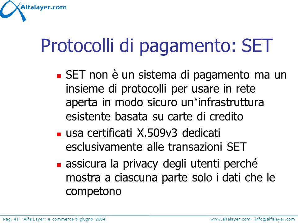 www.alfalayer.com - info@alfalayer.com Pag. 41 - Alfa Layer: e-commerce © giugno 2004 Protocolli di pagamento: SET SET non è un sistema di pagamento m