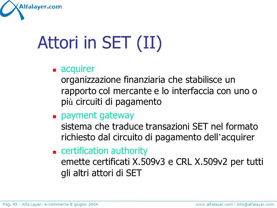 www.alfalayer.com - info@alfalayer.com Pag. 45 - Alfa Layer: e-commerce © giugno 2004 Attori in SET (II) acquirer organizzazione finanziaria che stabi