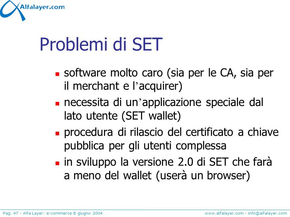 www.alfalayer.com - info@alfalayer.com Pag. 47 - Alfa Layer: e-commerce © giugno 2004 Problemi di SET software molto caro (sia per le CA, sia per il m
