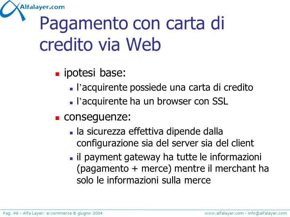 www.alfalayer.com - info@alfalayer.com Pag. 49 - Alfa Layer: e-commerce © giugno 2004 Pagamento con carta di credito via Web ipotesi base: l acquirent