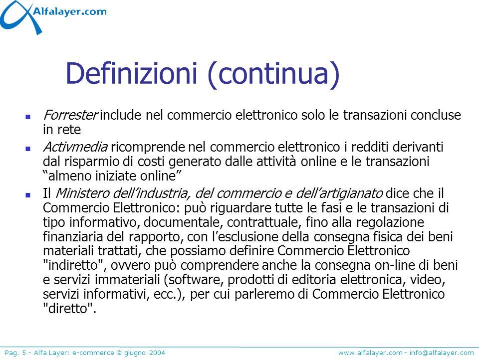 www.alfalayer.com - info@alfalayer.com Pag. 5 - Alfa Layer: e-commerce © giugno 2004 Definizioni (continua) Forrester include nel commercio elettronic