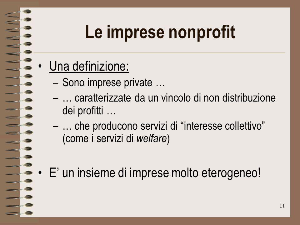 11 Le imprese nonprofit Una definizione: –Sono imprese private … –… caratterizzate da un vincolo di non distribuzione dei profitti … –… che producono servizi di interesse collettivo (come i servizi di welfare ) E un insieme di imprese molto eterogeneo!