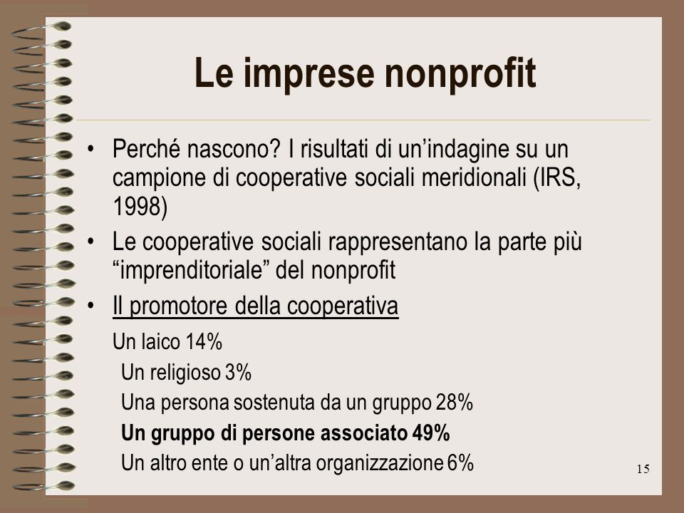 15 Le imprese nonprofit Perché nascono.
