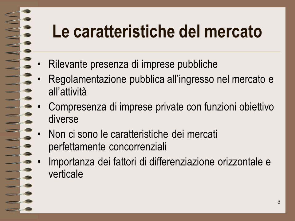 6 Le caratteristiche del mercato Rilevante presenza di imprese pubbliche Regolamentazione pubblica allingresso nel mercato e allattività Compresenza di imprese private con funzioni obiettivo diverse Non ci sono le caratteristiche dei mercati perfettamente concorrenziali Importanza dei fattori di differenziazione orizzontale e verticale