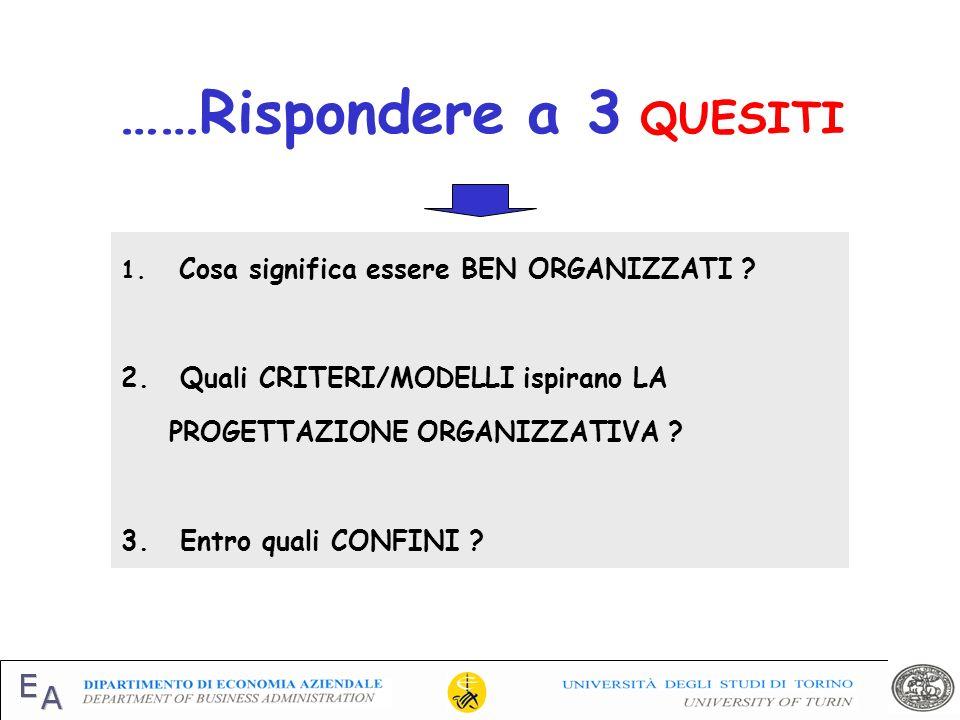 Organizzazione come sinonimo di razionalità dei comportamenti Organizzazione come sinonimo di razionalità dei comportamenti