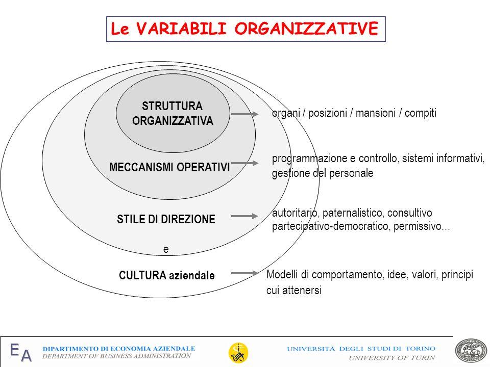 Le VARIABILI ORGANIZZATIVE STILE DI DIREZIONE e MECCANISMI OPERATIVI STRUTTURA ORGANIZZATIVA organi / posizioni / mansioni / compiti programmazione e